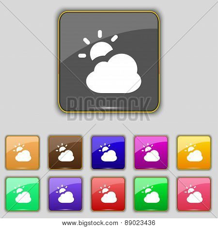 Weather Icon Sign. Set With Eleven Colored Buttons For Your Site. Vector