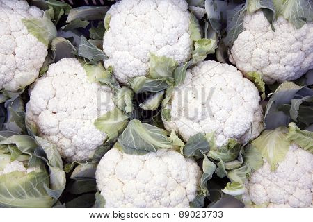 Lot Of Cauliflowers Packed Together