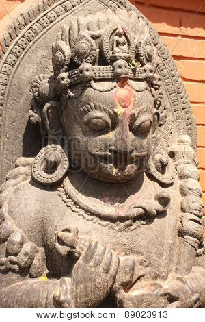 Ancient statue of hindu god, Kathmandu, Nepal