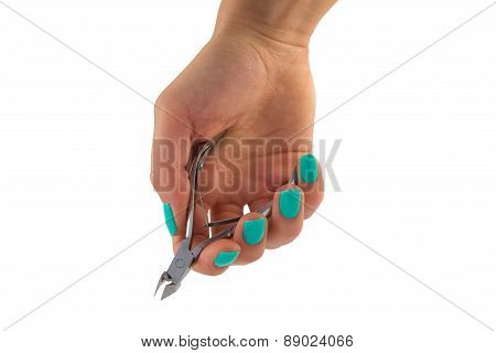 Manicurists Cuticle Clippers In Female Hand