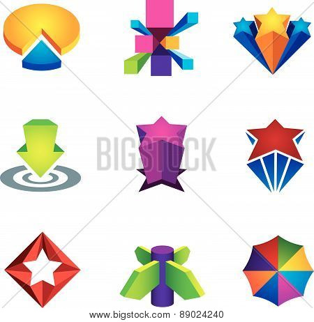 Color 3d social super star icon set for internet web creativity logo vector illustration success