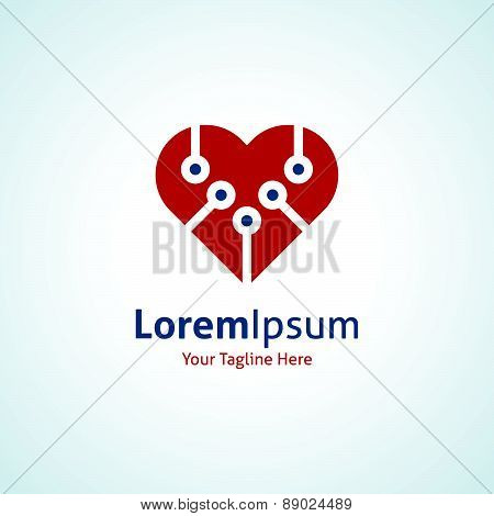 New technology integrate red heart shape vector logo icon