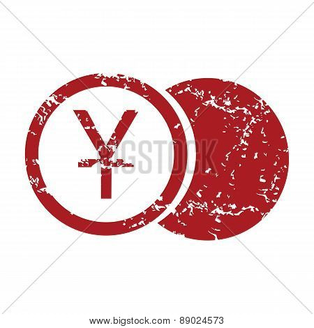 Red grunge yen coin logo