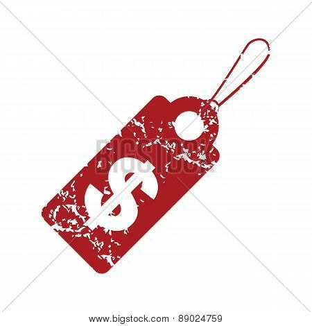 Red grunge dollar tag logo