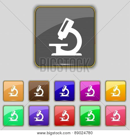 Microscope Icon Sign. Set With Eleven Colored Buttons For Your Site. Vector