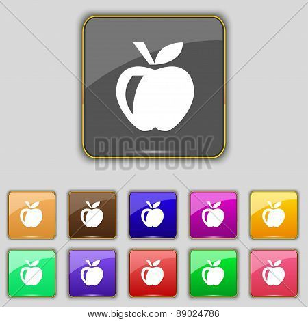 Apple Icon Sign. Set With Eleven Colored Buttons For Your Site. Vector