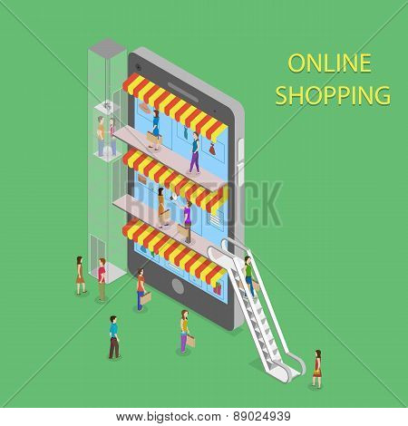 Online Shopping Isometric Concept Illustration.
