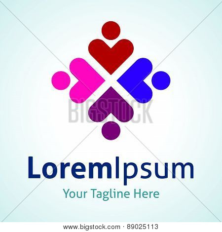Share love people flower circle vector logo icon