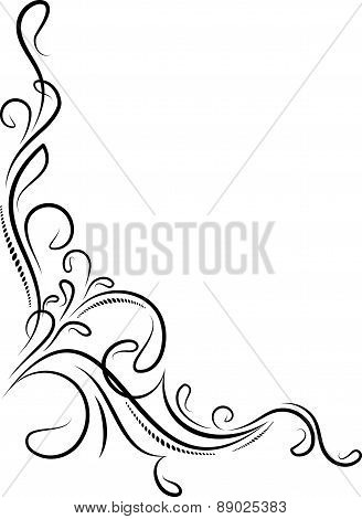 Beautiful floral corner isolated on a white. Vector illustration for your design or tattoo.
