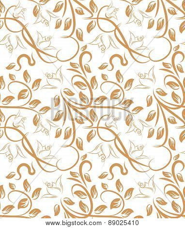 Abstract, plant seamless pattern on a light background. Vector illustration for your design.