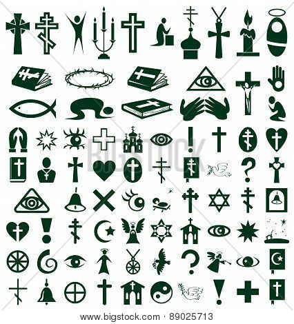 Religion, Faith Icons On White