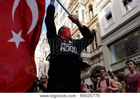 Undefined demonstrator waving the Turkish flag