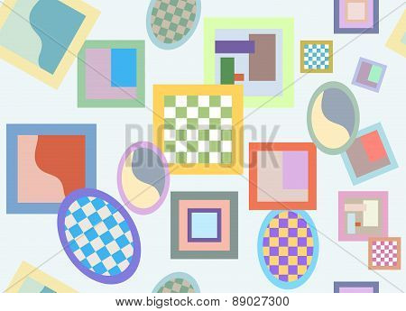 Seamless Pattern Of Randomly Scattered Varicolored Frames