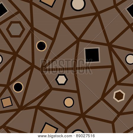 Abstract Seamless Brown Geometric Pattern.
