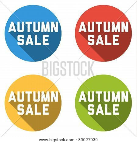 Collection Of 4 Isolated Flat Buttons (icons) With Automn Sale