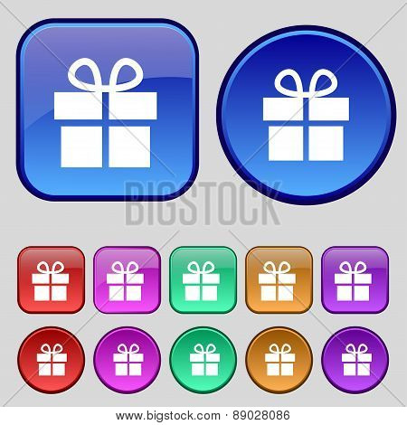 Gift Box Icon Sign. A Set Of Twelve Vintage Buttons For Your Design. Vector