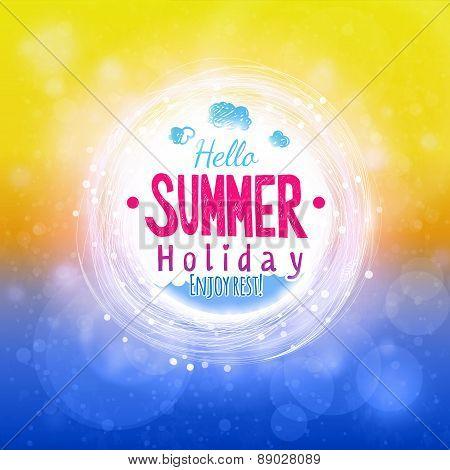 Hello Hot Summer Sun And Sea Drawing Card