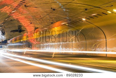 Traffic In The Tunnel, Long Exposure. Route W-z