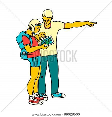 Man is showing directions to a girl tourist with a map