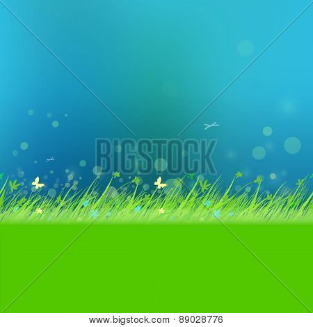 Dark Sky With Grass Frame For Your Text