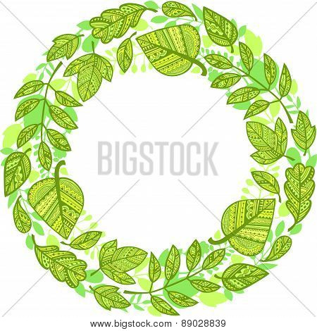 Circle Garland Of Decorative Green Leaves