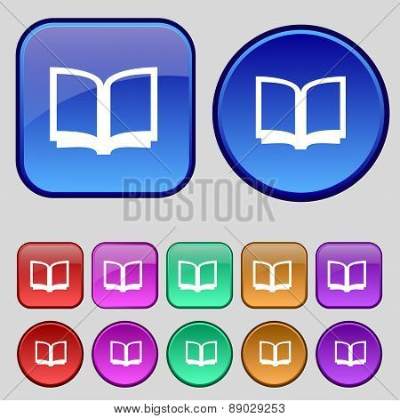 Open Book Icon Sign. A Set Of Twelve Vintage Buttons For Your Design. Vector
