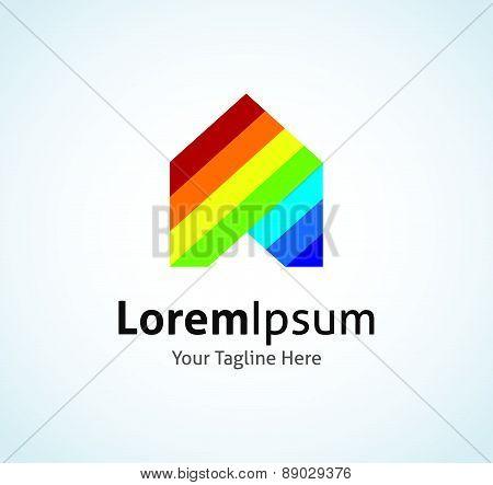 Rainbow house beautiful nature phenomenon vector logo icon