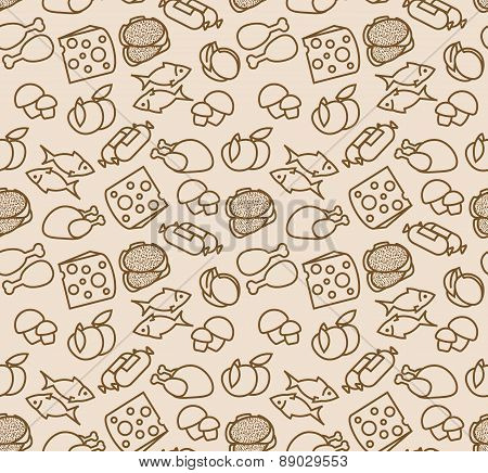 Abstract seamless pattern with food. Vector illustration for your design.