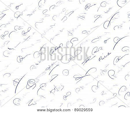 Abstract seamless pattern with signatures on a white background. Vector illustration for your design