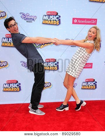 LOS ANGELES - APR 25:  Joey Bragg, Audrey Whitby at the Radio DIsney Music Awards 2015 at the Nokia Theater on April 25, 2015 in Los Angeles, CA