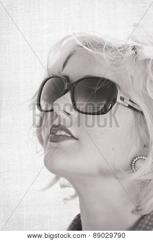 Stunning Blonde Haired Teenage Girl Wearing Sunglasses