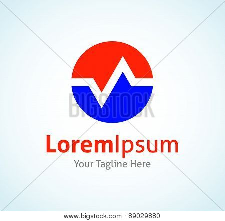 Pulse line medical healthy business vector logo icon