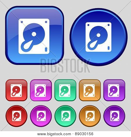Hard Disk And Database Icon Sign. A Set Of Twelve Vintage Buttons For Your Design. Vector