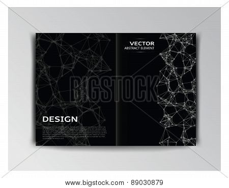 Horizontal Black Template Of Brochure With Abstract Elements