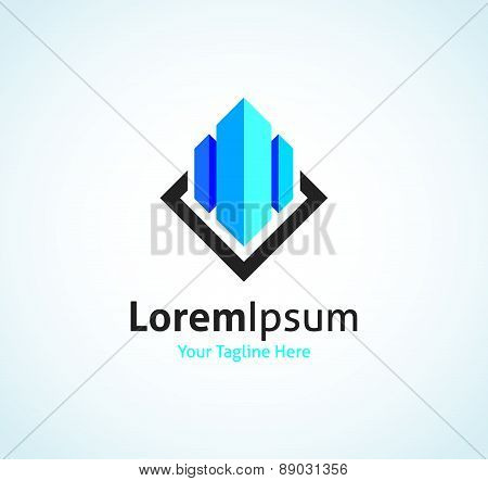 Real estate building CEO business company in glass vector logo icon