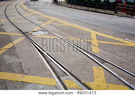 Street Railway With Yellow Street Mark