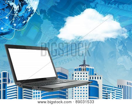 Laptop on abstract cityscape background with cloud