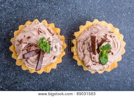 Small Biscuits With Chocolate And Sweet Cream