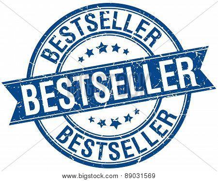 Bestseller Grunge Retro Blue Isolated Ribbon Stamp