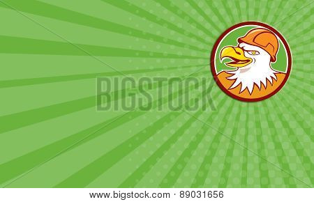 Business Card Bald Eagle Construction Worker Head Circle Cartoon