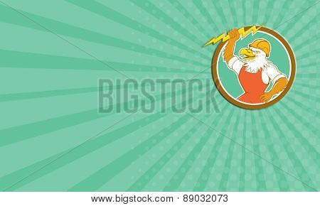 Business Card Bald Eagle Electrician Lightning Bolt Circle Cartoon