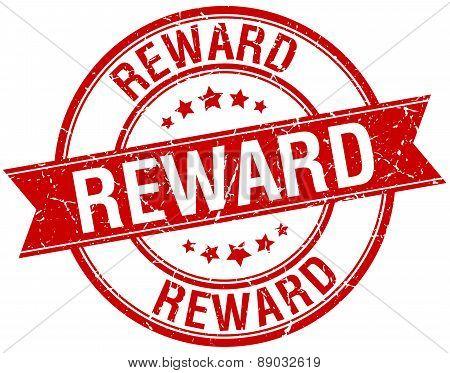 Reward Grunge Retro Red Isolated Ribbon Stamp