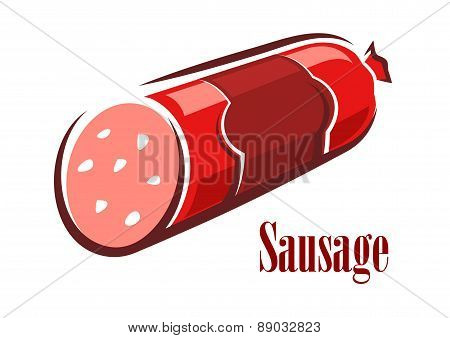 Cartoon red beef salami sausage