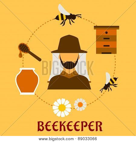 Beekeeping concept with beekeeping and apiculture symbols