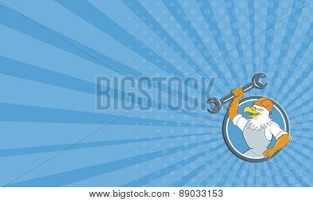 Business Card Bald Eagle Mechanic Spanner Circle Cartoon