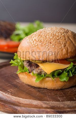 Closeup Of Classic Burger