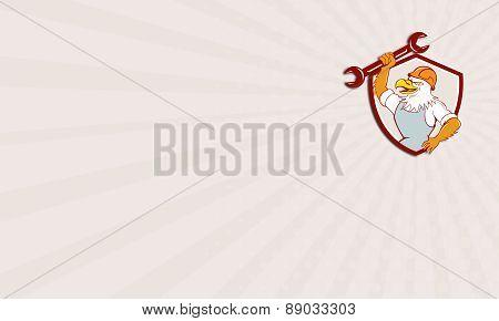 Business Card American Bald Eagle Mechanic Spanner Shield Cartoon
