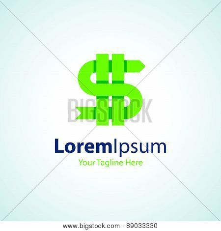 Money crazy green dollar sign icon simple elements logo