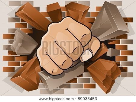 Punching Fist Through Exploding Brick Wall.