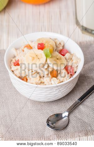 Oatmeal With Candied Fruits And Milk